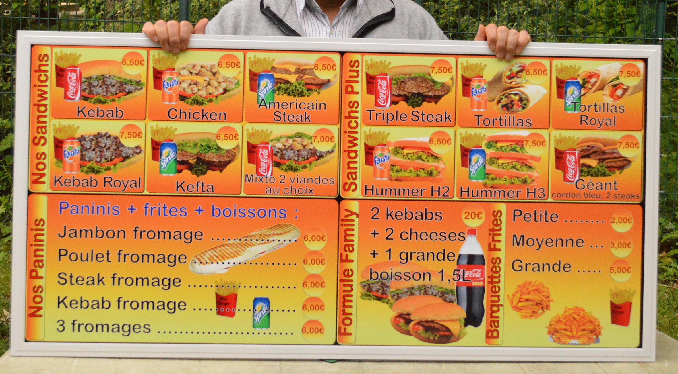 Panneaux leds pour restaurant kebab
